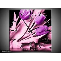 Wandklok op Canvas Tulp | Kleur: Paars, Zwart | F003922C