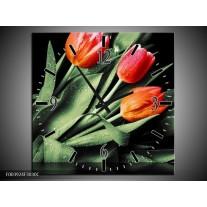 Wandklok op Canvas Tulp | Kleur: Rood, Oranje, Groen | F003924C