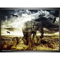 Glas schilderij Olifant | Groen, Geel, Grijs