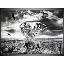 Foto canvas schilderij Steen | Grijs, Zwart, Wit