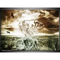 Glas schilderij Steen | Groen, Bruin, Wit