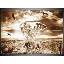 Foto canvas schilderij Steen | Bruin, Wit