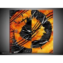 Wandklok op Canvas Abstract | Kleur: Geel, Oranje, Grijs | F003935C
