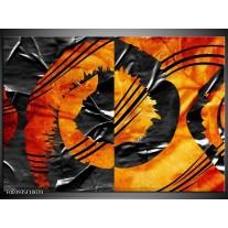 Glas schilderij Abstract | Geel, Oranje, Grijs