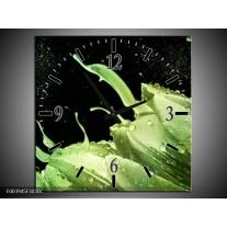 Wandklok op Canvas Tulp   Kleur: Groen, Zwart   F003945C