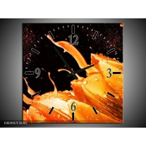 Wandklok op Canvas Tulp | Kleur: Oranje, Zwart | F003947C