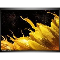 Glas schilderij Tulp | Geel, Goud, Zwart