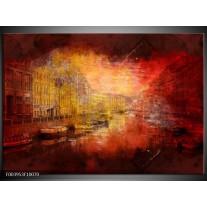 Glas schilderij Steden | Rood, Geel, Zwart