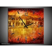 Wandklok op Canvas Steden | Kleur: Rood, Geel, Zwart | F003954C