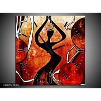 Wandklok op Canvas Abstract | Kleur: Zwart, Rood, Wit | F003955C