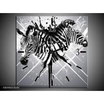 Wandklok op Canvas Zebra | Kleur: Zwart, Wit, Grijs | F003956C