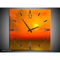 Wandklok op Canvas Zonsondergang | Kleur: Geel, Oranje, Bruin | F003957C