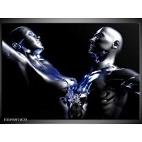 Glas schilderij Abstract | Blauw, Zilver, Zwart