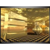 Glas schilderij Abstract | Bruin, Geel, Goud