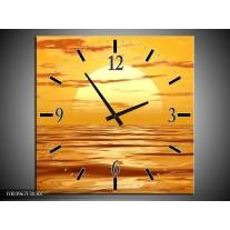 Wandklok op Canvas Zonsondergang | Kleur: Geel, Oranje, Bruin | F003967C