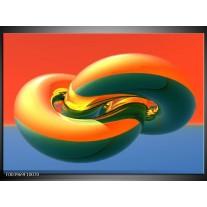 Glas schilderij Abstract | Goud, Groen, Rood