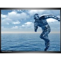 Glas schilderij Abstract | Blauw, Wit, Grijs