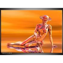 Glas schilderij Abstract | Oranje, Grijs, Geel