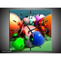 Wandklok op Canvas Abstract | Kleur: Oranje, Blauw, Groen | F003976C