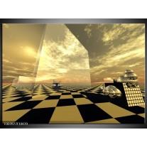 Glas schilderij Abstract | Bruin, Zwart