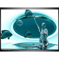Glas schilderij Vis | Blauw, Wit