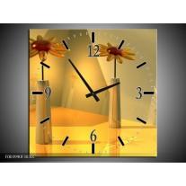 Wandklok op Canvas Bloem | Kleur: Geel, Oranje | F003990C