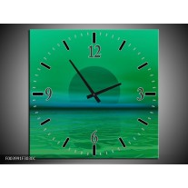 Wandklok op Canvas Zonsondergang | Kleur: Groen, Blauw | F003991C