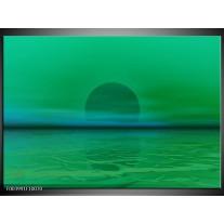 Glas schilderij Zonsondergang | Groen, Blauw