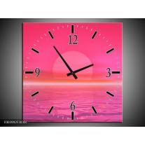 Wandklok op Canvas Zonsondergang | Kleur: Roze, Wit | F003992C
