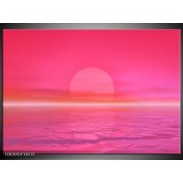 Glas schilderij Zonsondergang | Roze, Wit