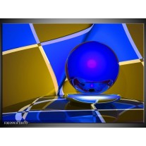 Foto canvas schilderij Abstract | Blauw, Geel, Grijs