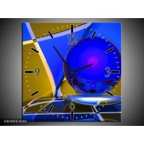 Wandklok op Canvas Abstract | Kleur: Blauw, Geel, Grijs | F003993C