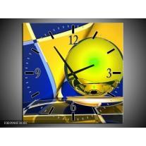 Wandklok op Canvas Abstract | Kleur: Blauw, Geel, Grijs | F003994C