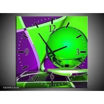 Wandklok op Canvas Abstract | Kleur: Paars, Groen | F003995C