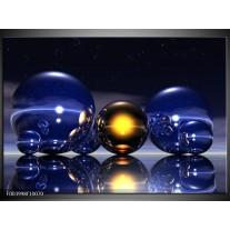 Glas schilderij Abstract | Blauw, Geel, Zwart