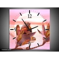 Wandklok op Canvas Bloem   Kleur: Roze, Paars, Wit   F004000C