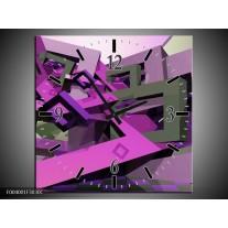 Wandklok op Canvas Abstract | Kleur: Paars, Roze, Grijs | F004001C