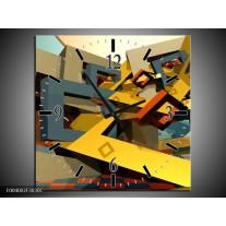 Wandklok op Canvas Abstract | Kleur: Geel, Grijs, Zwart | F004002C