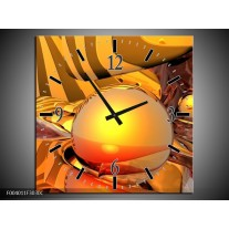 Wandklok op Canvas Abstract | Kleur: Geel, Oranje, Bruin | F004011C