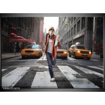 Foto canvas schilderij Straat | Geel, Oranje, Grijs