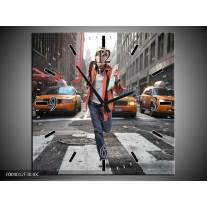 Wandklok op Canvas Straat | Kleur: Geel, Oranje, Grijs | F004012C
