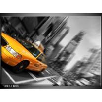 Glas schilderij Auto | Geel, Grijs, Zwart