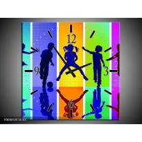 Wandklok op Canvas Springen | Kleur: Blauw, Geel, Groen | F004014C
