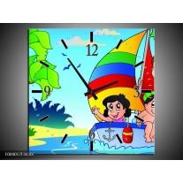 Wandklok op Canvas Boot | Kleur: Blauw, Rood, Groen | F004017C