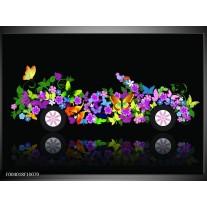 Glas schilderij Auto | Zwart, Groen, Paars