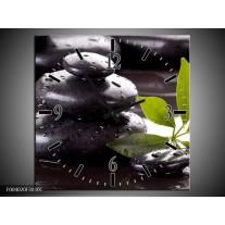 Wandklok op Canvas Stenen | Kleur: Zwart, Groen, Wit | F004020C