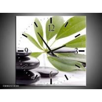 Wandklok op Canvas Stenen | Kleur: Zwart, Groen, Wit | F004021C