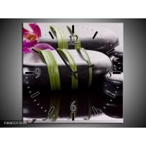 Wandklok op Canvas Stenen | Kleur: Paars, Zwart, Groen | F004022C