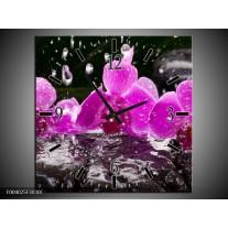Wandklok op Canvas Orchidee | Kleur: Zwart, Roze, Grijs | F004025C