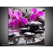 Wandklok op Canvas Orchidee | Kleur: Zwart, Roze, Grijs | F004028C